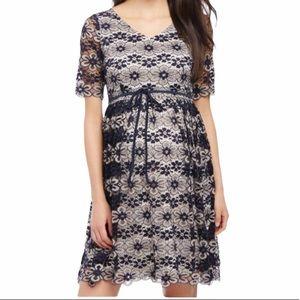 🎉HP🎉 Motherhood cream and navy blue lace dress